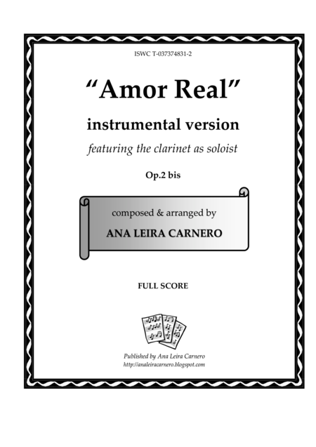 AMOR REAL, instrumental version featuring the clarinet as soloist (Full Score)