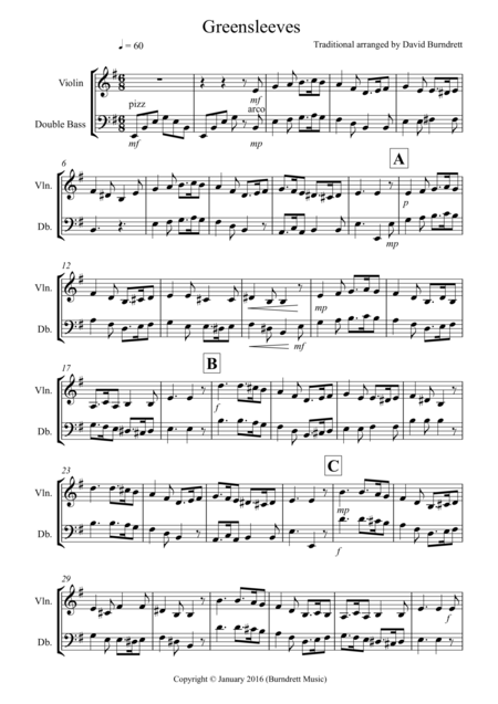 Greensleeves for Violin and Double Bass Duet
