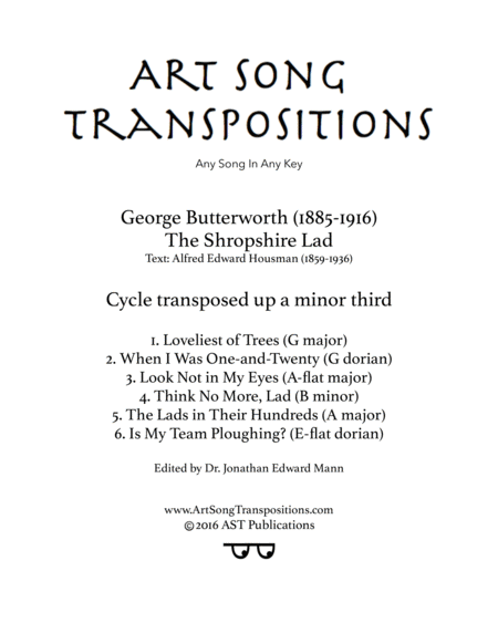 The Shropshire Lad (transposed up a minor 3rd)