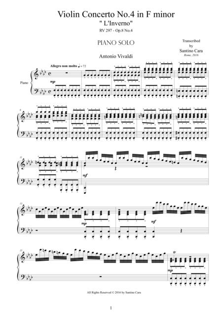 Vivaldi - Violin Concerto No.4 in F minor 'L'inverno', RV 297 - Piano solo
