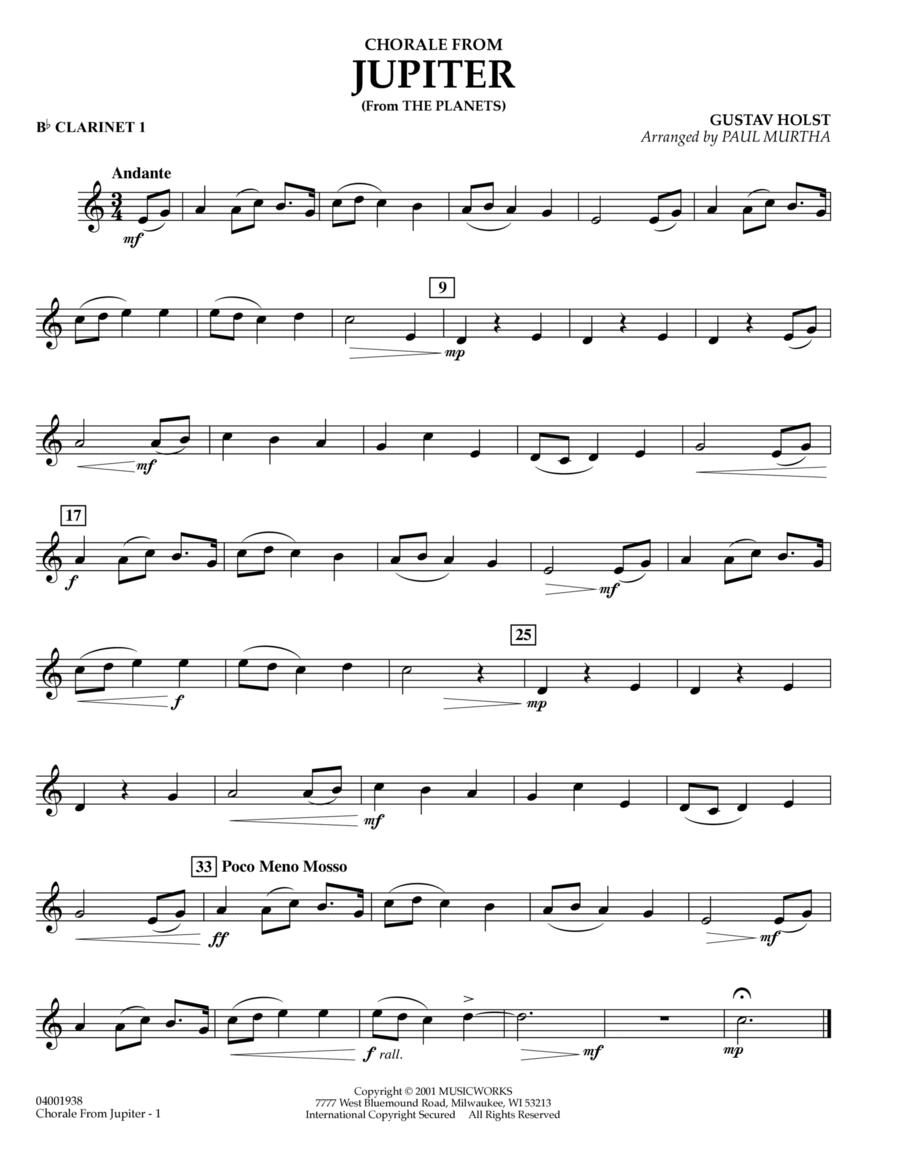 Chorale from Jupiter - Bb Clarinet 1