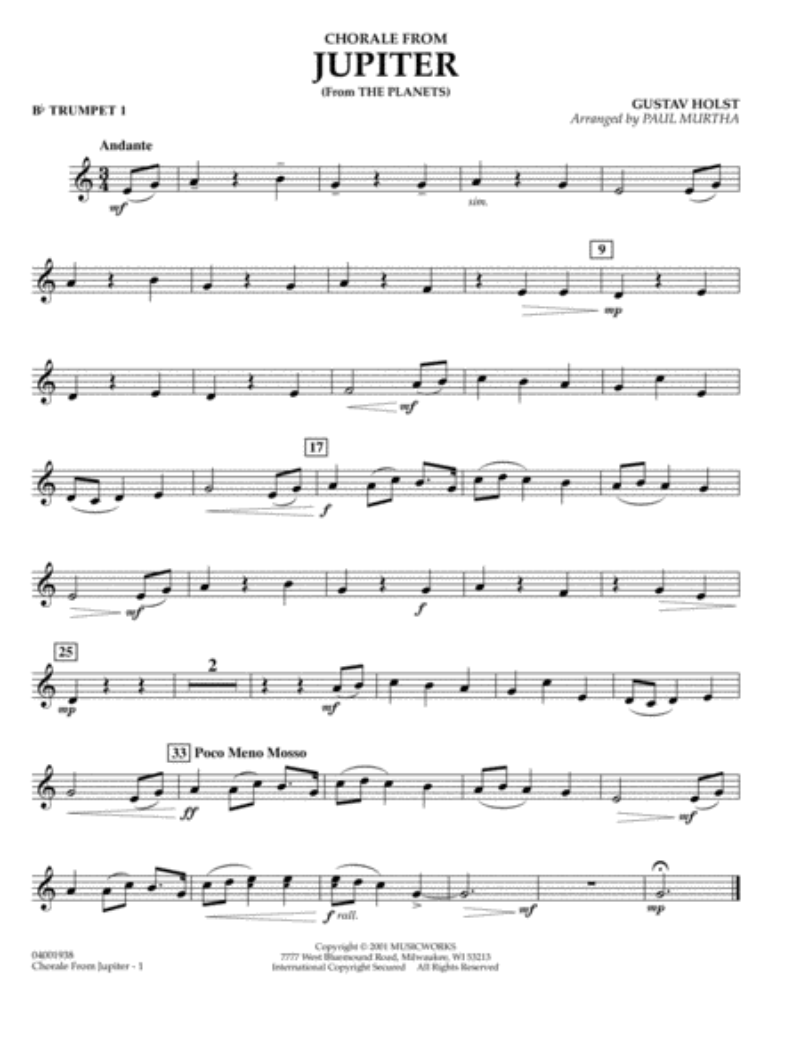 Chorale from Jupiter - Bb Trumpet 1