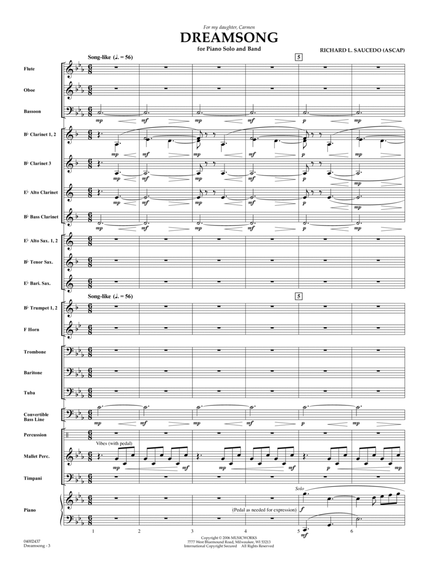 Dreamsong (Piano Feature With Band) - Full Score