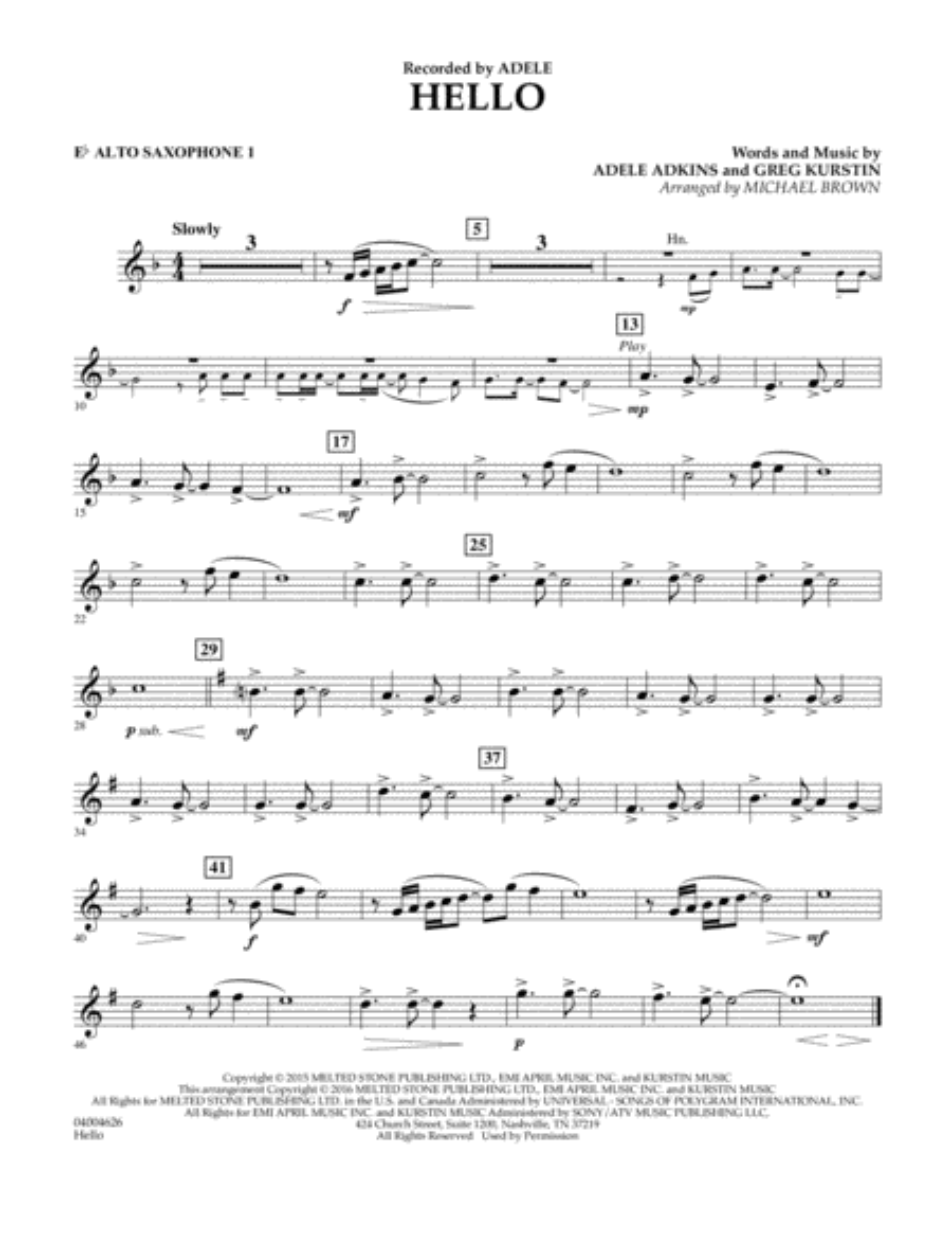 Hello - Eb Alto Saxophone 1