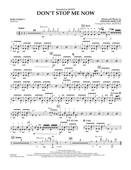 Don't Stop Me Now - Percussion 1