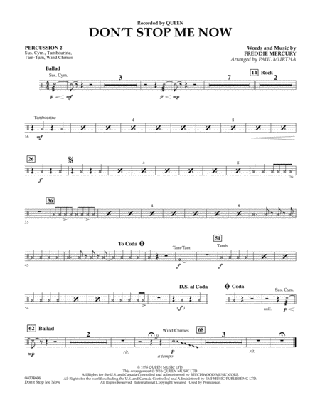 Don't Stop Me Now - Percussion 2