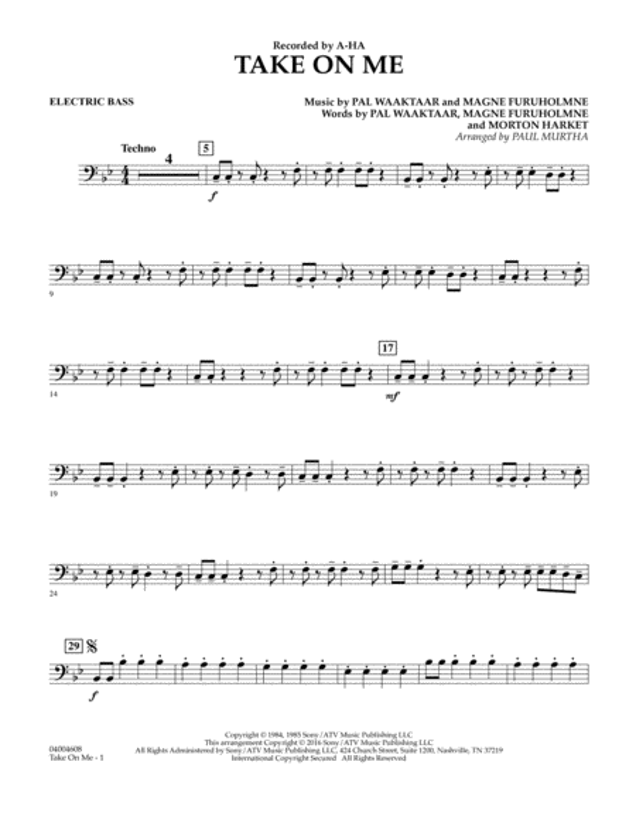 Take on Me - Electric Bass
