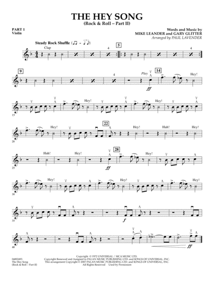 The Hey Song (Rock & Roll Part II) (Flex-Band) - Pt.1 - Violin