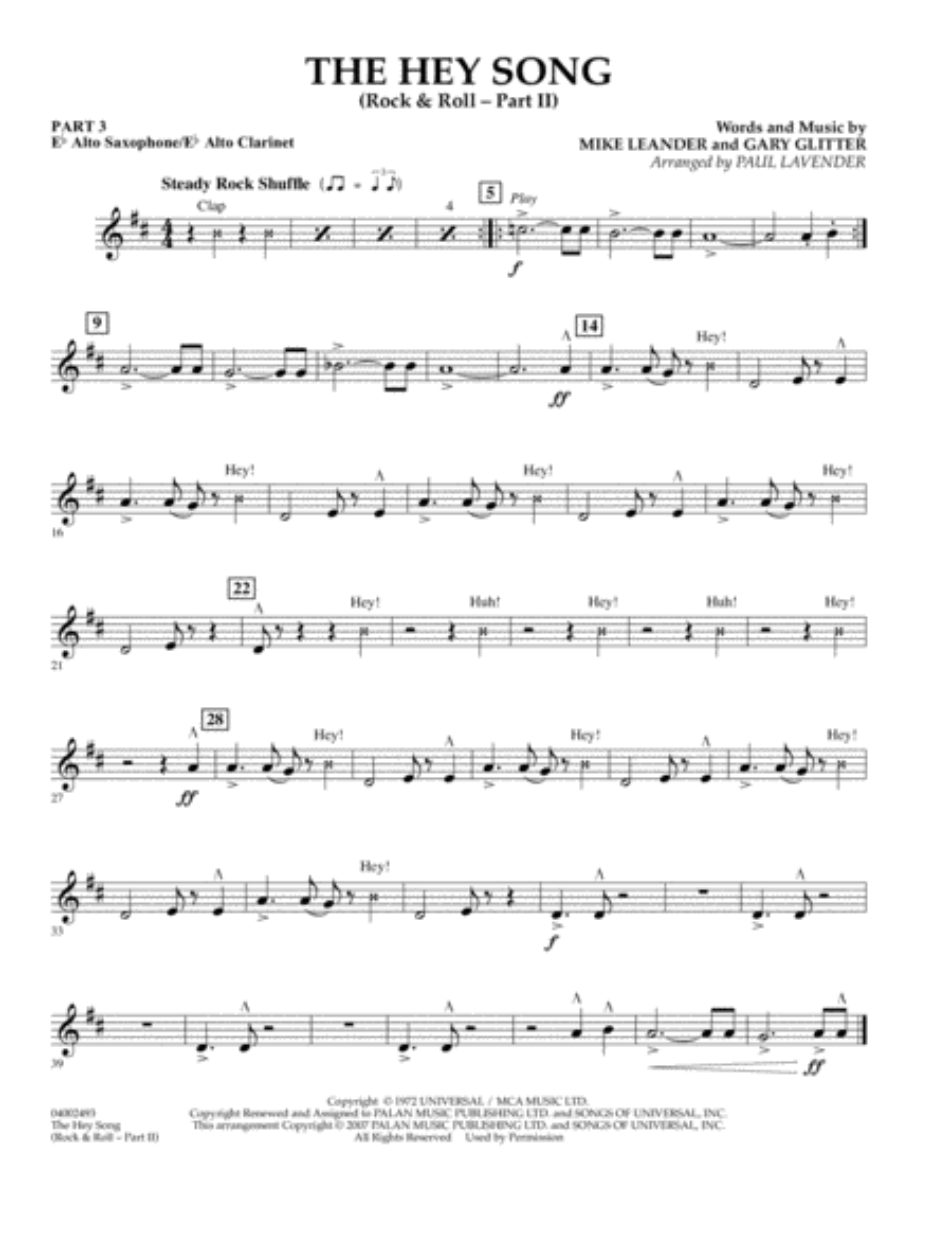 The Hey Song (Rock & Roll Part II) (Flex-Band) - Pt.3 - Eb Alto Sax/Alto Clar.