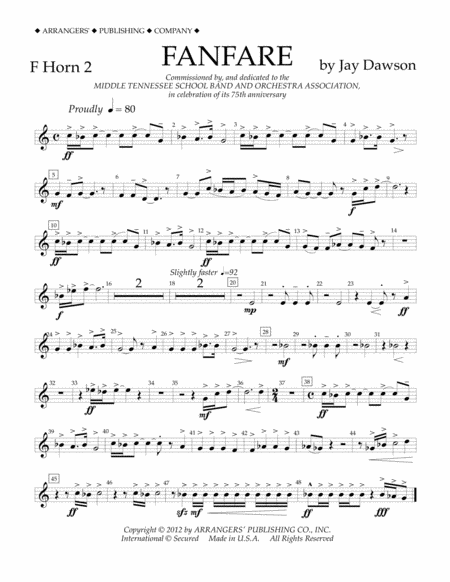Fanfare - F Horn 2