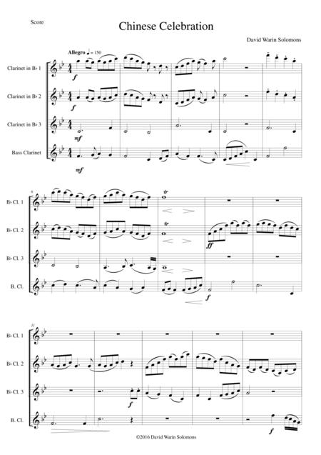 Chinese Celebration for clarinet quartet