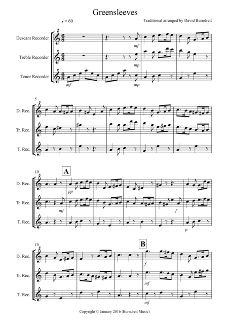 Greensleeves for Recorder Trio