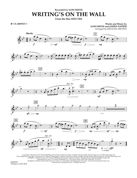 Writing's on the Wall (from Spectre) - Bb Clarinet 1