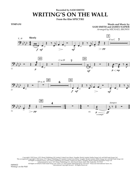 Writing's on the Wall (from Spectre) - Timpani