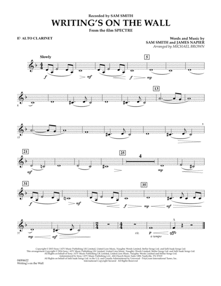 Writing's on the Wall (from Spectre) - Eb Alto Clarinet