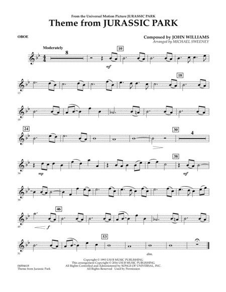 Theme from Jurassic Park - Oboe