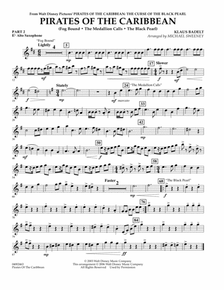 Pirates Of The Caribbean (Flex-Band) - Pt.2 - Eb Alto Saxophone