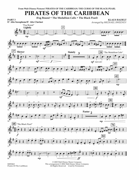 Pirates Of The Caribbean (Flex-Band) - Pt.3 - Eb Alto Sax/Alto Clar.