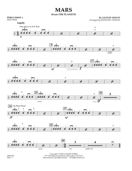 Mars (from The Planets) - Percussion 1