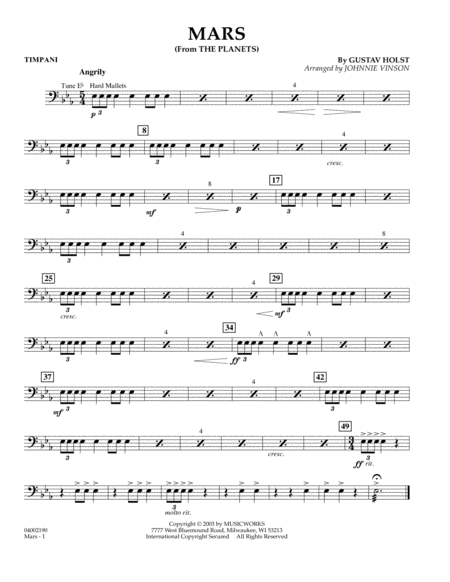 Mars (from The Planets) - Timpani
