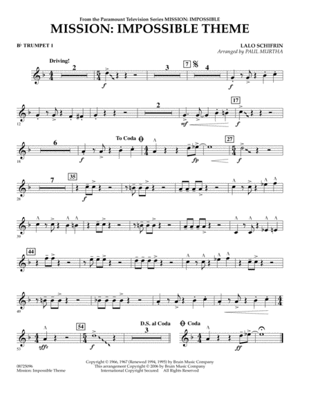 Mission: Impossible Theme - Bb Trumpet 1