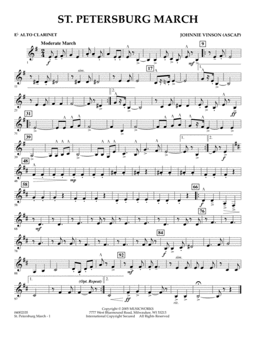 St. Petersburg March - Eb Alto Clarinet