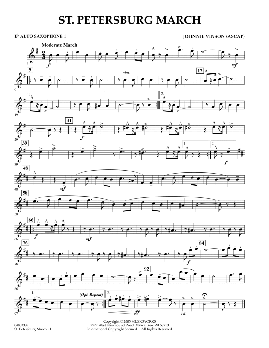 St. Petersburg March - Eb Alto Saxophone 1