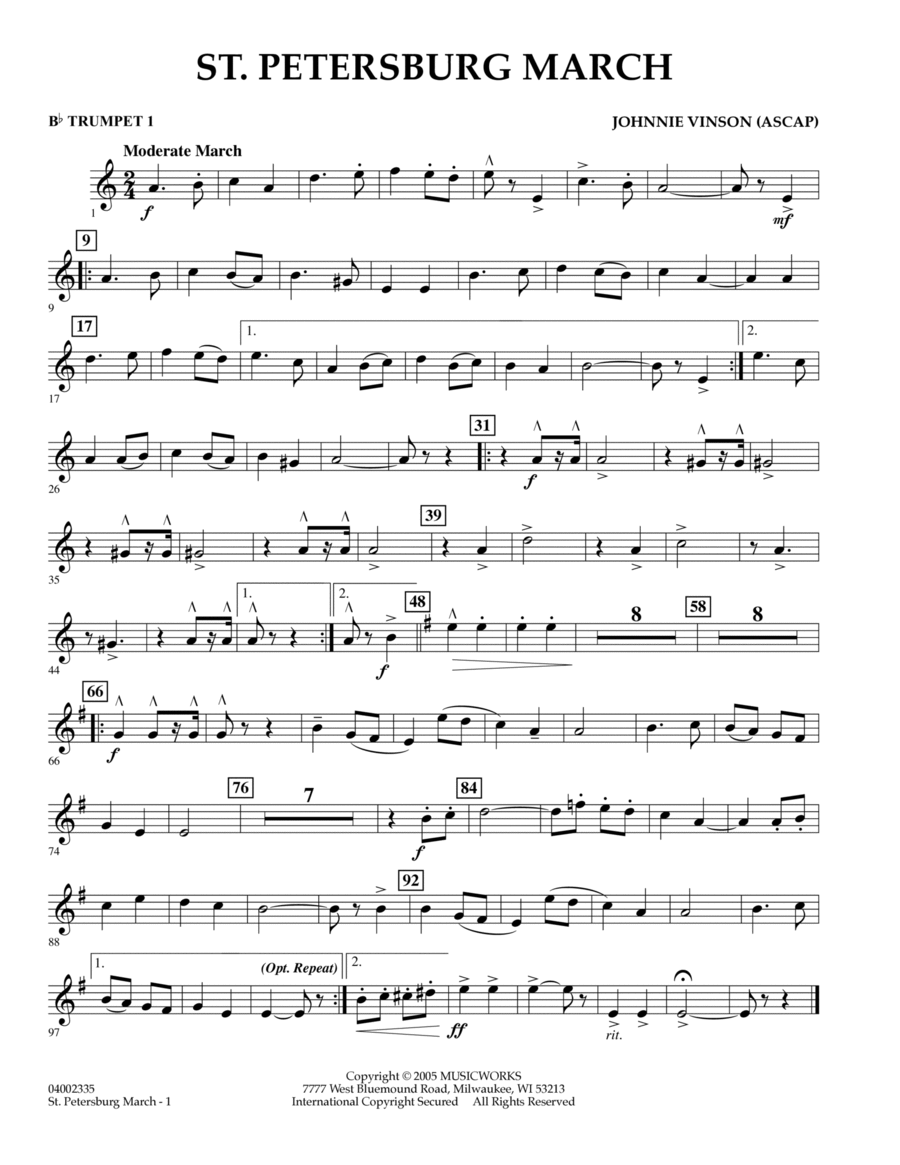 St. Petersburg March - Bb Trumpet 1