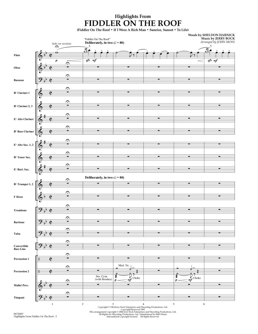 Highlights From Fiddler On The Roof - Full Score