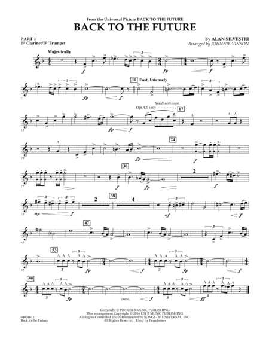 Back to the Future (Main Theme) - Pt.1 - Bb Clarinet/Bb Trumpet