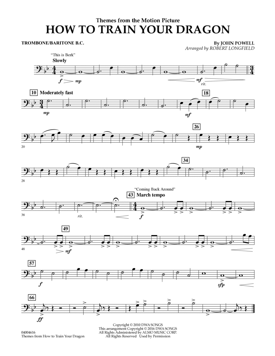Themes from How to Train Your Dragon - Trombone/Baritone B.C.