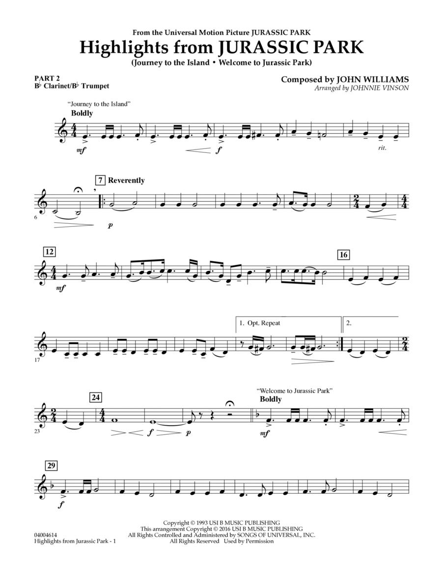 Highlights from Jurassic Park - Pt.2 - Bb Clarinet/Bb Trumpet