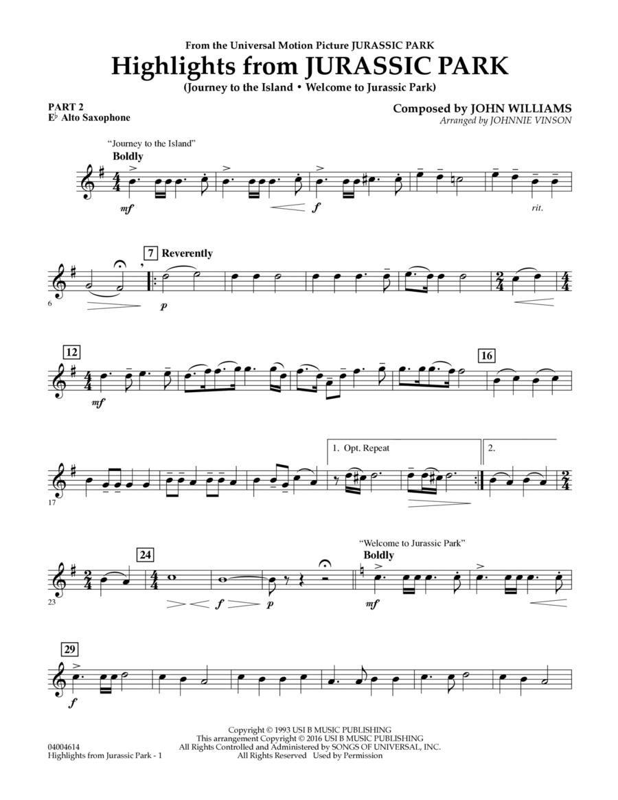 Highlights from Jurassic Park - Pt.2 - Eb Alto Saxophone