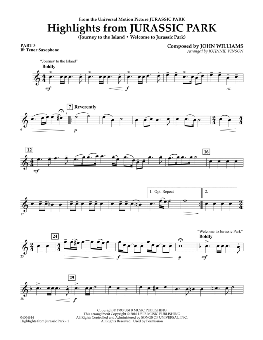 Highlights from Jurassic Park - Pt.3 - Bb Tenor Saxophone