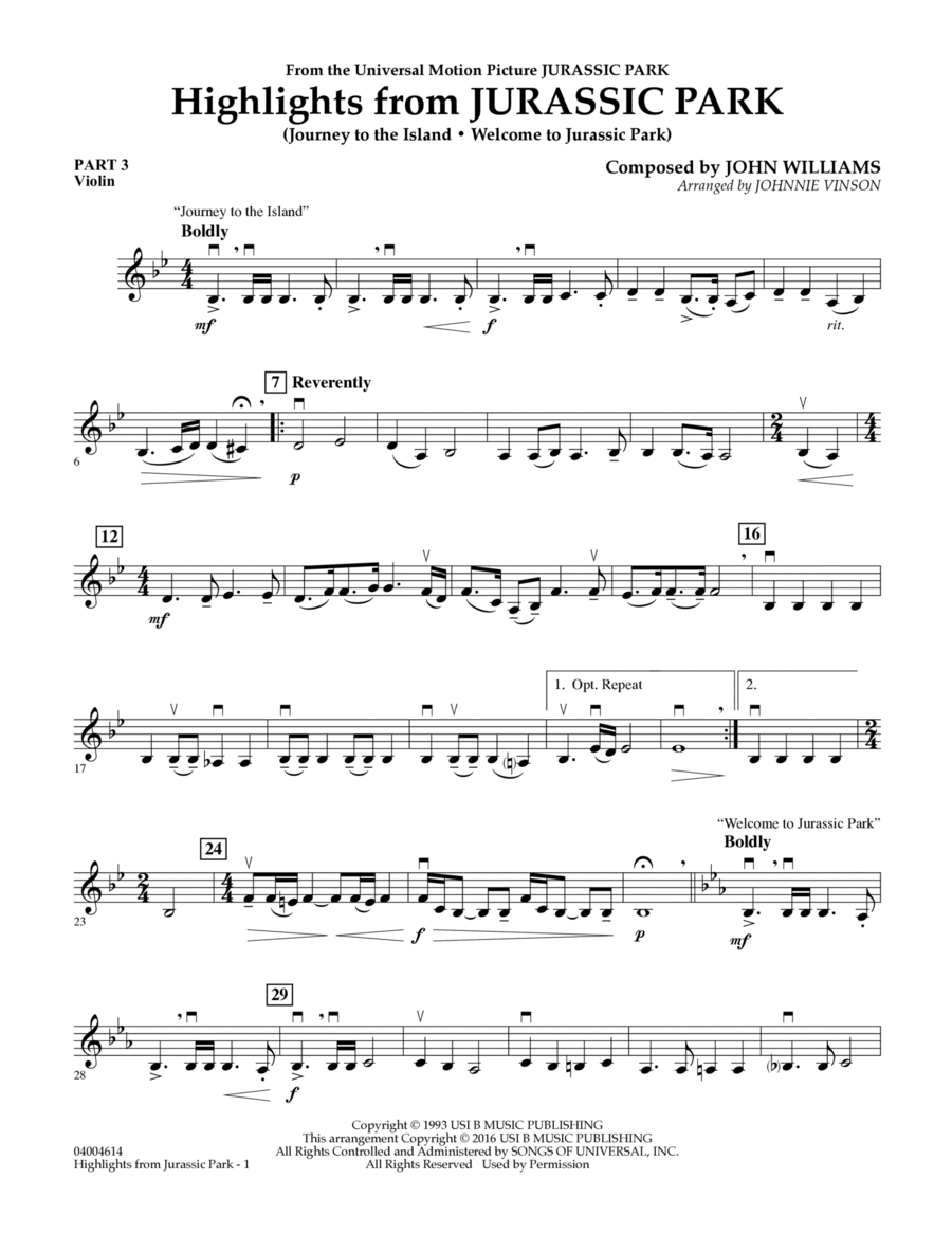 Highlights from Jurassic Park - Pt.3 - Violin
