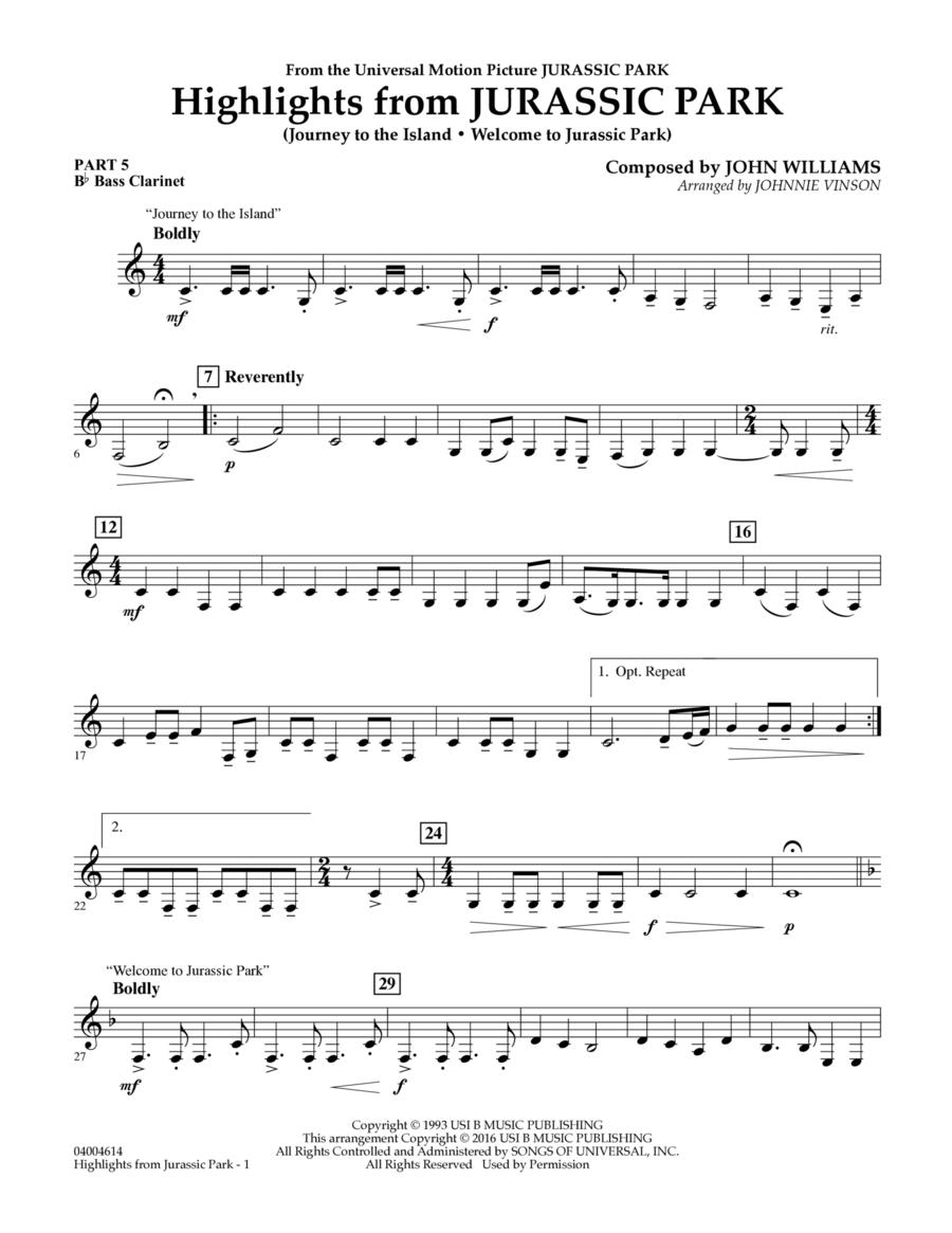 Highlights from Jurassic Park - Pt.5 - Bb Bass Clarinet