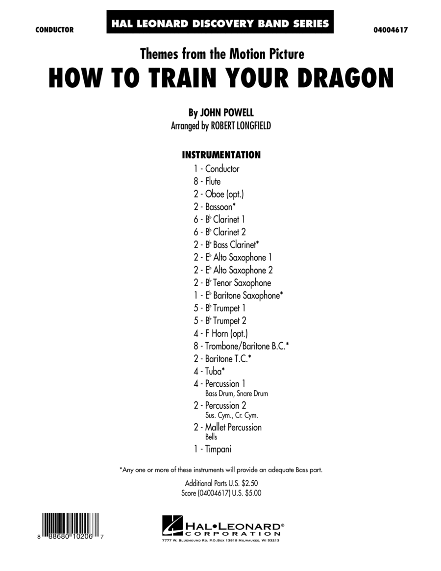 Themes from How to Train Your Dragon - Conductor Score (Full Score)