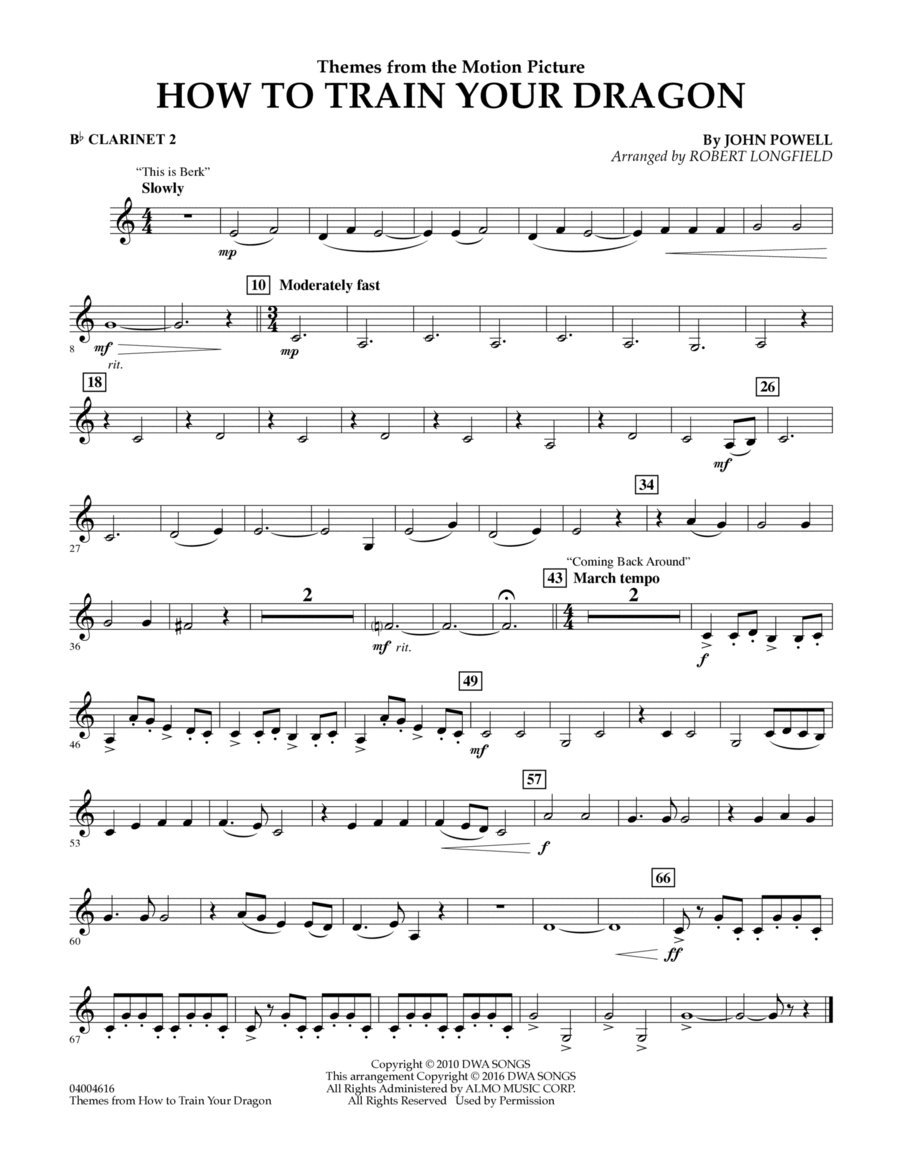 Themes from How to Train Your Dragon - Bb Clarinet 2
