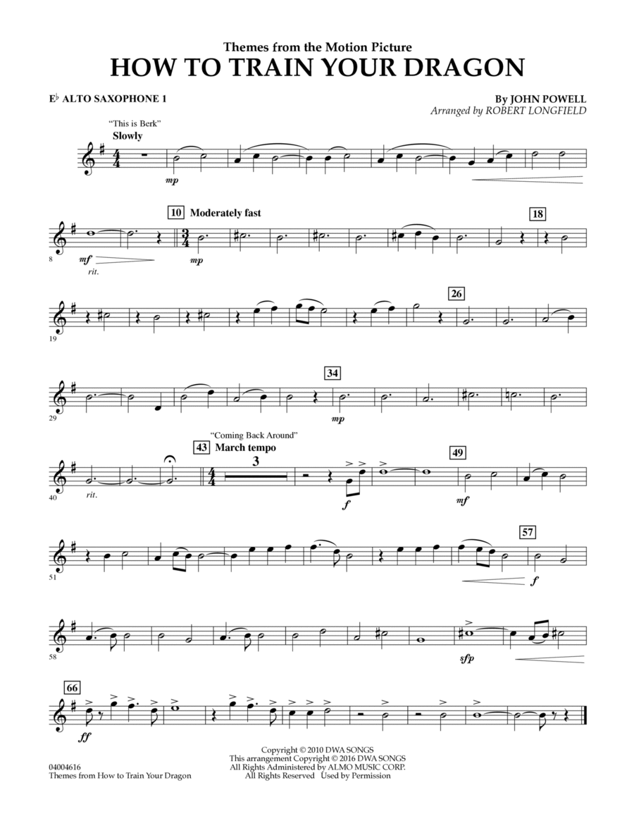 Themes from How to Train Your Dragon - Eb Alto Saxophone 1