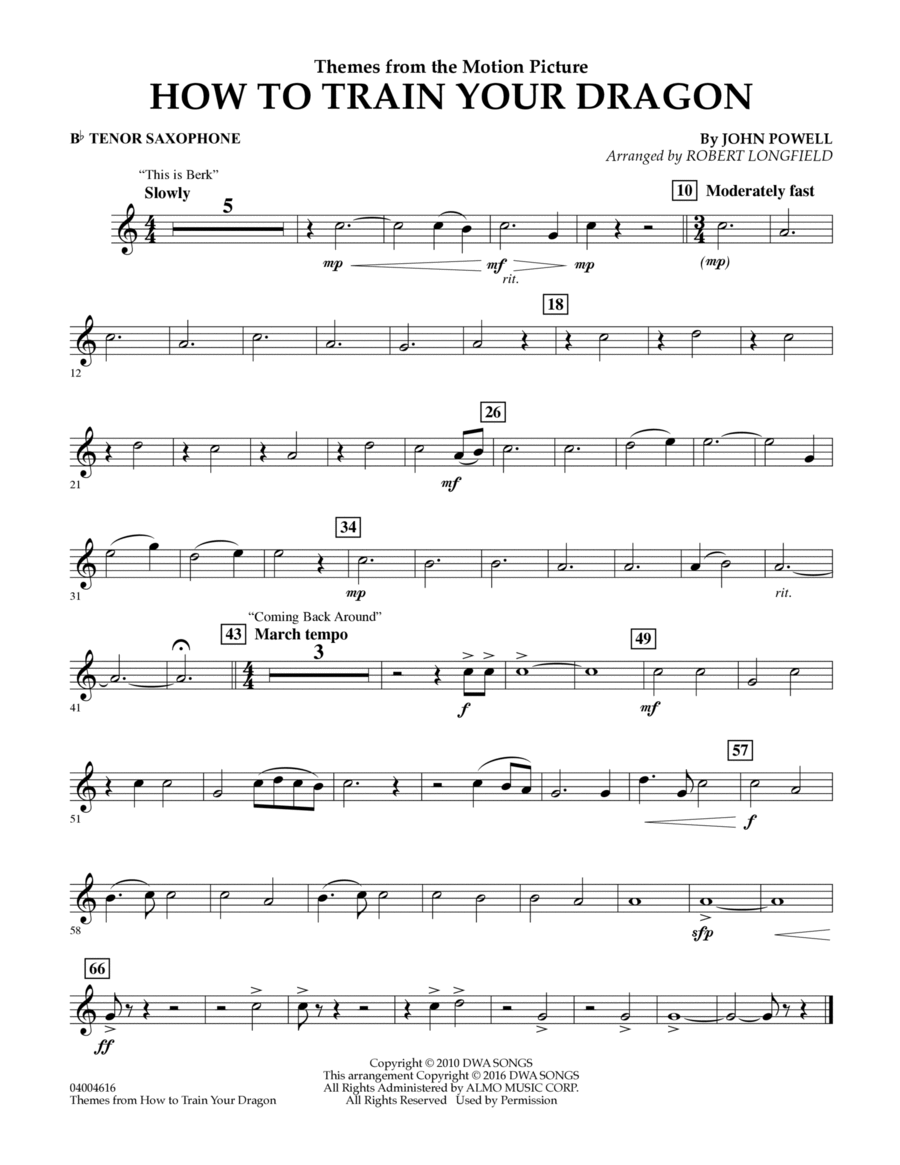 Themes from How to Train Your Dragon - Bb Tenor Saxophone