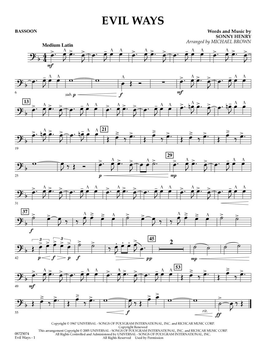 Evil Ways - Bassoon
