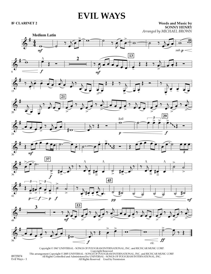 Evil Ways - Bb Clarinet 2