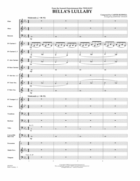 Bella's Lullaby (from Twilight) - Full Score