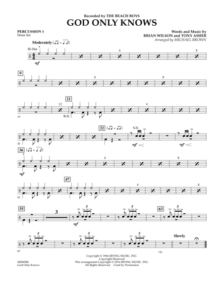 God Only Knows - Percussion 1