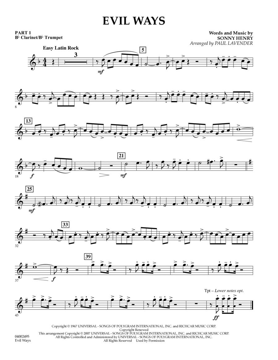 Evil Ways (Flex-Band) - Pt.1 - Bb Clarinet/Bb Trumpet