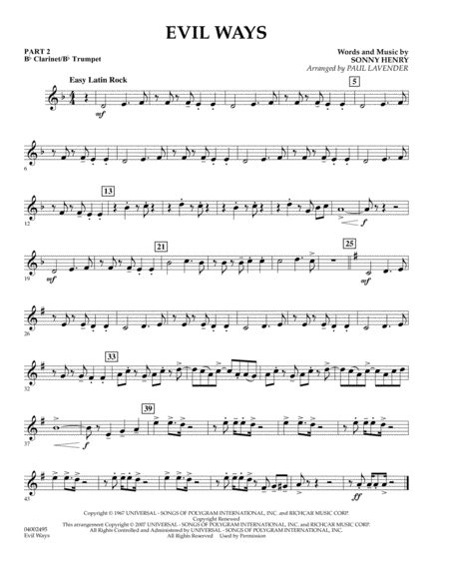 Evil Ways (Flex-Band) - Pt.2 - Bb Clarinet/Bb Trumpet
