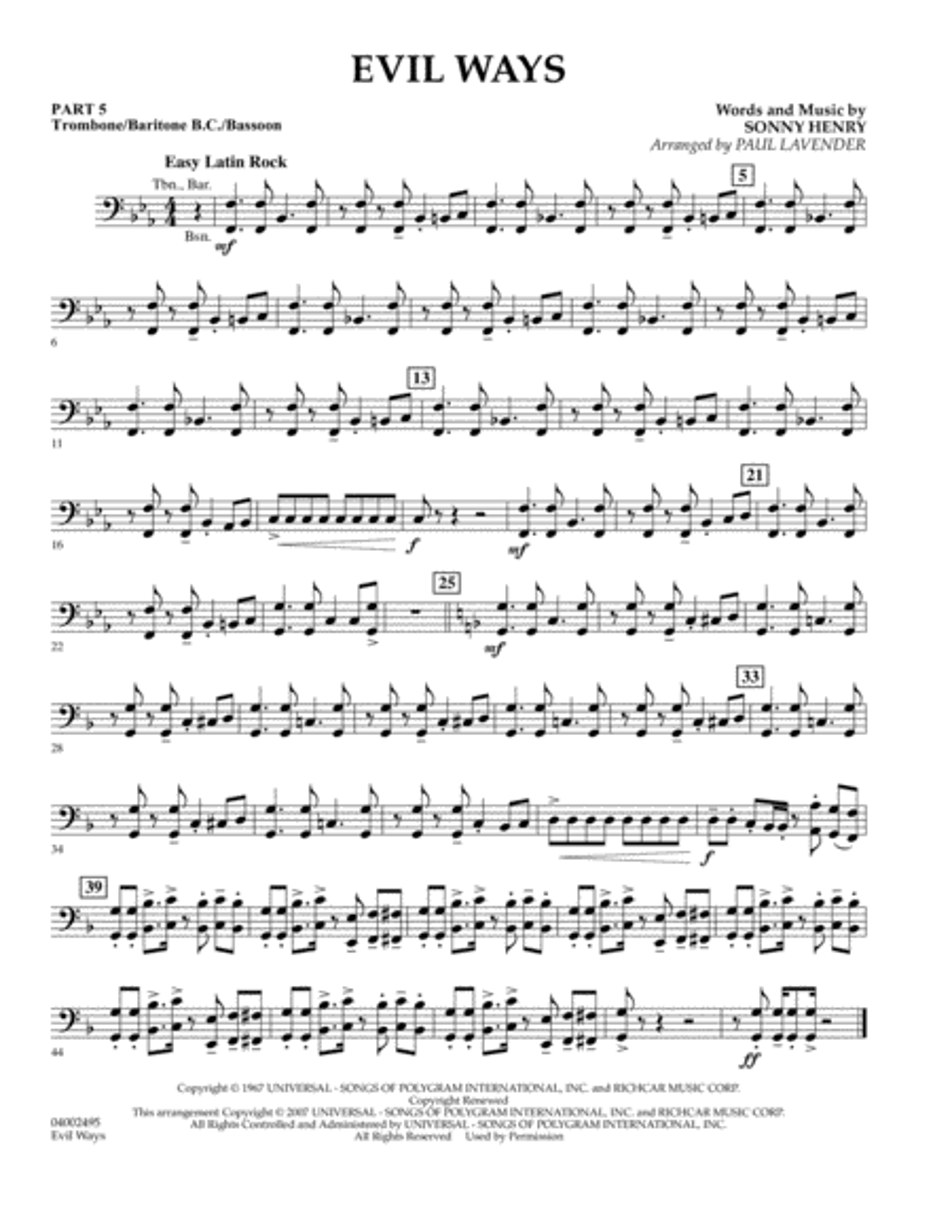 Evil Ways (Flex-Band) - Pt.5 - Trombone/Bar. B.C./Bsn.