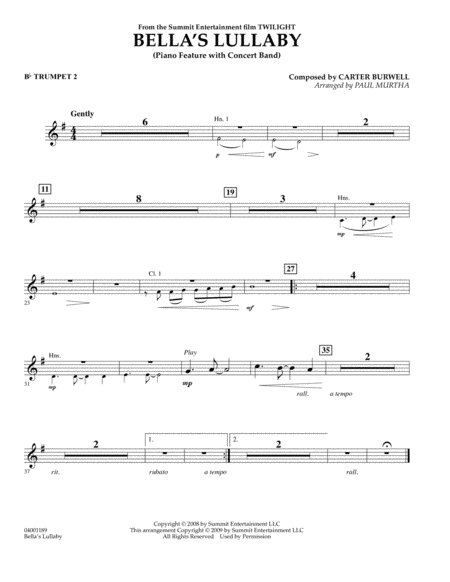 Bella's Lullaby (from Twilight) - Bb Trumpet 2