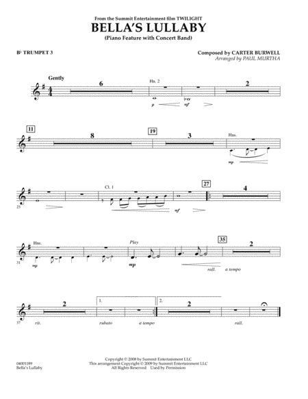 Bella's Lullaby (from Twilight) - Bb Trumpet 3