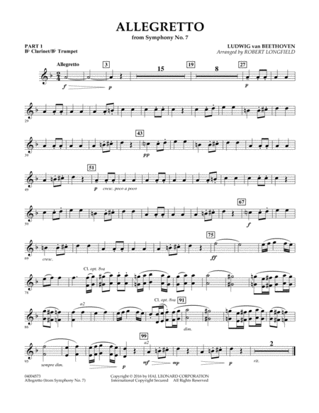 Allegretto (from Symphony No. 7) - Pt.1 - Bb Clarinet/Bb Trumpet